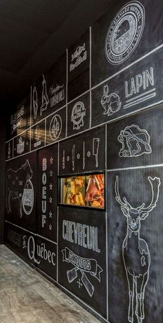 Restaurants with chalk wall could have their own unique brands, lettering, and content (while menus could change with holidays & seasons) ...