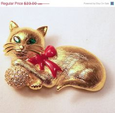 Vintage Napier Rhinestone Cat Pin Red Enamel by GretelsTreasures