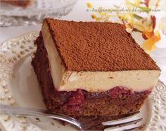ciasto z wiśniami i kremem cappuccino Tiramisu, Ale, Cheesecake, Baking, Sweet, Ethnic Recipes, Drinks, Gourd, Candy