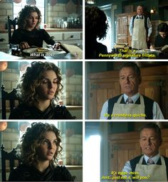 """It's a crustless quiche. It's eggs, miss. Just... just eat, will you?"" - Alfred and Selina #Gotham"