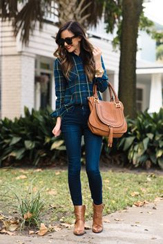Dark Denim + Plaid Top With Pops Of Red Fall Street Style Inspo women fashion outfit clothing stylish apparel closet ideas Plaid Shirt Outfits, New Outfits, Casual Outfits, Cute Outfits, Fashion Outfits, Fashion Trends, Beautiful Outfits, Fashion News, Fall Winter Outfits