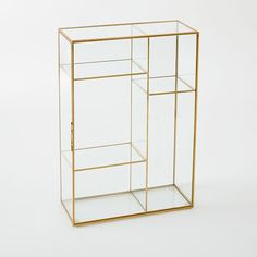 Gold Shadow Box - Display Case | West Elm  sc 1 st  Pinterest & Sheu0027ll love to show off her favorite jewelry accessories and ... Aboutintivar.Com
