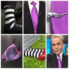 I guess I'm off to see #theWizard for my #socksoftheday  #RLPolo #striped #socks #Purple for the scene #Silk #FatTie #tiebar is #silver #elephant #pocketsquare is #paisley with trim #sotd #sockswag #dapper #gentleman #okc #tv