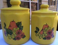 VINTAGE 1970's KROMEX METAL KITCHEN CANISTER SET / 2 YELLOW W/ PEARS & GRAPES
