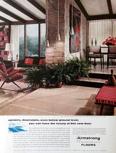 1956 Armstrong Floor Ad - Upstairs, Downstairs - Midcentury Modern Home  Decor Ideas - 1950s Imperial Custom Corlon Tile Floor