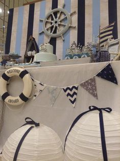 We Heart Parties: Party Information- sea theme, would be so cute for a baby shower or little boys birthday Navy Party, Nautical Party, Anchor Party, Nautical Banner, Baby Shower Themes, Baby Boy Shower, Sailor Theme Baby Shower, 1st Birthday Parties, Boy Birthday