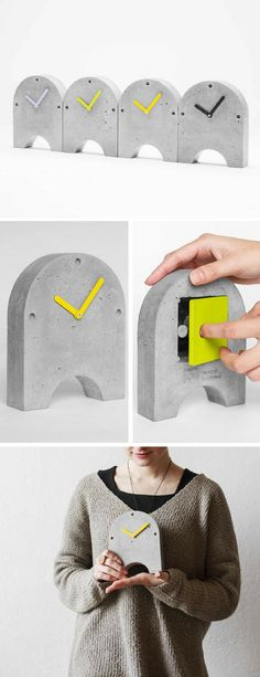 I love this minimalistic watch from real concrete. The best industrial desk clock. Also perfect gift idea. #ad #concrete #clock #watch #cement #deskdecor #homedecor #minimalist #industrial #giftidea