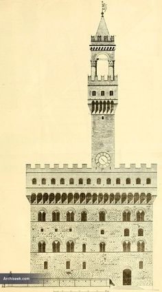 Architect: Arnolfo di Cambio The Palazzo Vecchio is the town hall of Florence, Italy and now largely used as a museum. This massive, Romanesque, crenellate