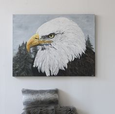 The Bald Eagle Acrylics on Plaster 36 x 48 Gallery Canvas Wildlife Paintings, Room Themes, Beautiful Artwork, Plaster, Acrylics, Bald Eagle, Wall Murals, Decorating Ideas, Canvas