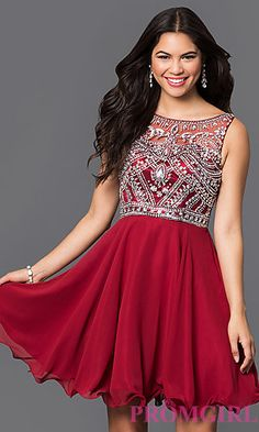 Make memories in this romantic chiffon homecoming dress. Let this jeweled Bollywood-inspired party dress set the tone for your night of dancing. A sweetheart bodice is seen under the sleeveless illusion top that zips up the side. Sparkling rhinestones on the bodice of this dress are sure to attract the lens of cameras near and far. Falling from the natural waist of this sleeveless dress the soft chiffon skirt ends with a rolled hemline.