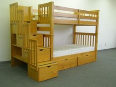 kid beds, tall stairway, kid furniture, bunk beds, stairway bunk, drawers, kid room, stairways, honey