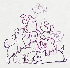 Pile o' Cute - Puppy Pile design (UT10505) from UrbanThreads.com