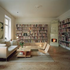 book shelves < hmmm... switch the fireplace, comfier couch & chairs, bring the dog from the rainbow library & I'm sold...