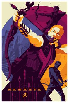 mondo: avengers: hawkeye by *strongstuff on deviantART  Shapes and colours!  But why do so many superhero artists draw left-handed archers?