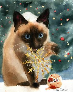 Christmas Siamese cat Art Print of a watercolor Painting Big Large Huge Girls Teens Cat Lover Unique Gift by rachelsstudio on Etsy https://www.etsy.com/listing/212996288/christmas-siamese-cat-art-print-of-a