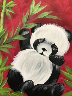 Night Painting, Easy Canvas Painting, Art Painting, Painting Inspiration, Animal Paintings Acrylic, Mini Canvas Art, Panda Painting, Animal Paintings, Folk Art Painting