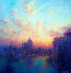 Leaving the Grand Canal Norman Smith Landscape Art, Landscape Paintings, Landscapes, Kitchen Canvas Art, Soft Pastel Art, Skyline Painting, Painting Gallery, Abstract Wall Art, Beautiful Paintings