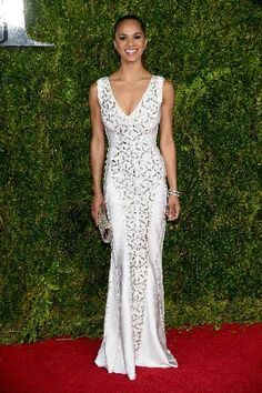 Misty Copeland from 2015 Tony Awards Red Carpet Arrivals - The starlet is breathtaking in an intricate white Herve Leger by Max Azria dress. Misty Copeland, Tony Award, Glamour, Afro, Get Glam, Herve Leger Dress, Red Carpet Gowns, Celebs, Celebrities