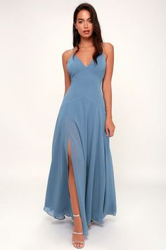 9c20ab6788f Lovely Still Slate Blue Sleeveless Maxi Dress Bridesmaid Dresses