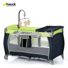 Hauck - Baby Center - Moonlight Kiwi    The Hauck Baby Center is a stylish travel cot complete with accessories. The Baby Center travel cot has a lightweight curved aluminium frame with two mesh side panels. Included are a clip-on changing table, accessory holder, 2nd floor and covered mattress. At one end there is a large bag for toys or baby accessories and the musical mobile with plush toys will keep baby entertained.