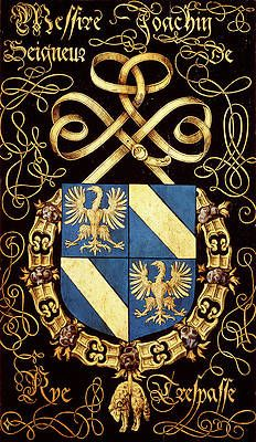 Order of the Golden Fleece Armorial Plate: Joachim, Seigneur de Rye Medieval, Book Of Kells, Family Crest, Crests, Illuminated Manuscript, Coat Of Arms, Album Covers, Oil On Canvas, Knight