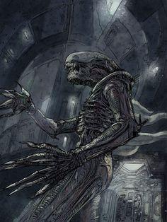 Roaming Alien in Nostromo corridors, Daniele Afferni on ArtStation at https://www.artstation.com/artwork/Wk3YX