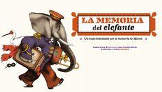 """""""LA MEMORIA DEL ELEFANTE"""" por Sophie Strady. Marcel, que ha viajado a lo largo y ancho de este mundo, ha decidido recoger todo lo que ha aprendido en un gran libro ilustrado. Memoria no le falta, se acuerda de todos los acontecimientos de su vida. Sin embargo, el viejo elefante parece haber olvidado que ese día es su cumpleaños…  DE 7 A 9 AÑOS. Signatura: R BAR"""