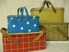 Four Vintage Tin Picnic Baskets.