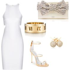 Bridal Shower Attire! All white with hints of gold and bling! by diybrides on Polyvore featuring polyvore, fashion, style, Elizabeth and James, Giuseppe Zanotti, Kate Spade, Tiffany & Co. and Loushelou