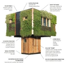 wow. an elevated #tinyhouse with #liveplant walls