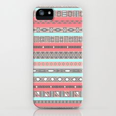 Peach Rose Baby Blue Aztec Tribal Native Pattern iPhone & iPod Case by RexLambo - $35.00