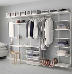 IKEA ALGOT wall upright/shelves Can also be used in bathrooms and other damp areas indoors. Clothes Storage Systems, Bedroom Storage Ideas For Clothes, Bedroom Storage For Small Rooms, Ikea Bedroom Storage, Closet Storage, Closet Organization, Organization Ideas, Ikea Storage, Clothing Storage