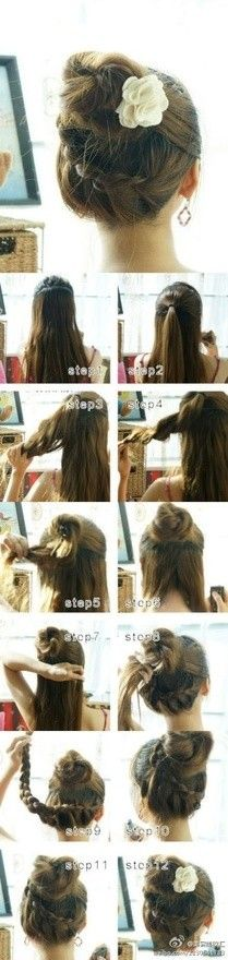 Cute Bun with wrap around braid tutorial - She has a lot of hair (really long hair, beautiful), but separating it into 2 sections makes sense and makes it a lot easier. long hair styles, buns for long hair, braids for long hair Braided Hairstyles Tutorials, Up Hairstyles, Pretty Hairstyles, Braid Tutorials, Beauty Tutorials, Amazing Hairstyles, Protective Hairstyles, Wedding Hairstyles, Braids Tutorial Easy