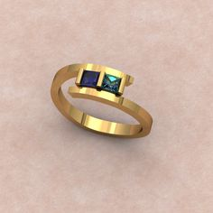 Simple Bypass Gemstone Ring with Sapphire & Alexandrite