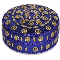 Blue Jewelry Box with Golden Accessories