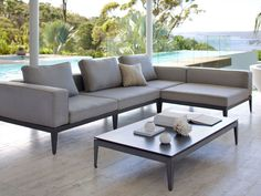 Eco Outdoor Avalon modular sofa in Basics outdoor fabric with low side table…