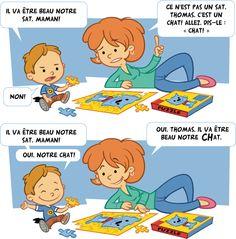 Conseil #6 Reformuler lorsque l'enfant fait des erreurs en accentuant le mot ou le son oublié ou erroné sans demander de répéter. #Placote #Stimulationdulangage