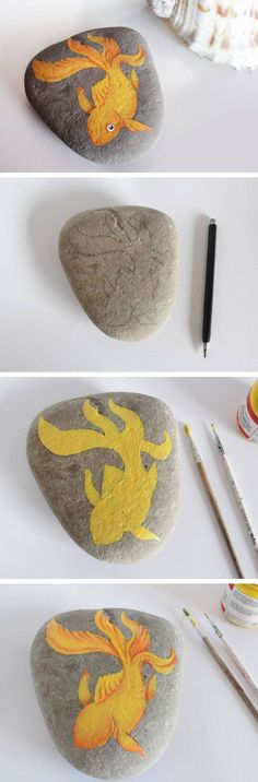 DIY Painted Stone | Click Pic for 20 DIY Beach Decorating Ideas for the Home | DIY Coastal Decorating Ideas for the Home | Nautical Decor Ideas