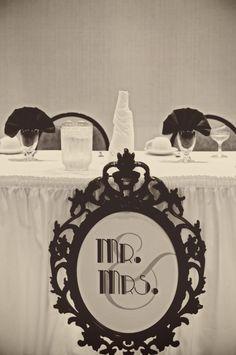 754277980f15c2 DIY Mr.  amp  Mrs. head table sign   wedding art deco black diy