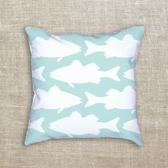 Love sea bass? Us too! That's why we created this mint sea bass decorative throw pillow. The perfect compliment to any beach or lake house.