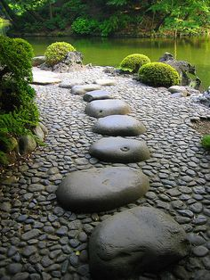 You don't have to have water to have beautiful stepping stones.  This perfect example of zen comes from a garden in Tokyo. Check out the website for more great ideas and tips.