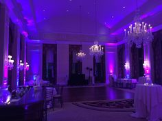 Dramatic Uplighting Pink & Purple in the Queen Charlotte Ballroom at Charlotte City Club 2015