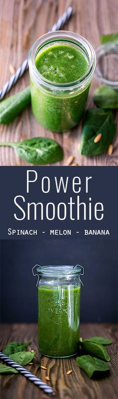 A lot of minerals and vitamins in one smoothie. spinach, melon and banana - the way to a healthy recipe. <3