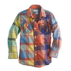 J.Crew - Boys' cotton flannel shirt in colorblock plaid. I WANT to find this shirt for Zac...wow so cool.