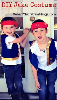 DIY Jake and the Neverland Pirates Costume - Easy and upcycled from an Amazon blue gift bag! #DisneyJunior