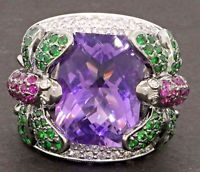 JCR heavy 18K WG 12.81CT diamond/tsavorite/ruby/amethyst dragonfly cocktail ring