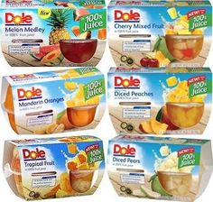 Dole Fruit Cup Sampler in Juice Cups (Variety Pack of 6 Different Flavors) -- More forbidden discounts at the link of image : Baking Desserts recipes Gourmet Recipes, Healthy Dinner Recipes, Snack Recipes, Dessert Recipes, Snacks, Dole Fruit Cups, Mixed Fruit Juice, Vegan Pastries, Watermelon Smoothies