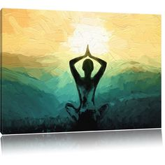 Meditation and Yoga in the Mountains Painting Print on Canvas Home Loft Concept Size: 80 cm H x 120 cm W Yoga Painting, Buddha Painting, House Painting, Painting Prints, Bergen, Yoga Kunst, Spiritual Paintings, Meditation, Canvas Art