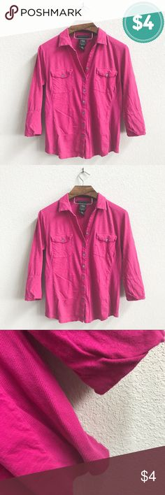 $4 Clearance: Plz Read Description Pre-loved and shows a decent amount of wear. No stains or snags. Please see pics. Brand new with tags!   PRODUCT DETAILS: •Size: Large •Colors: Pink •Made in China •Measurements: Chest-21inch Length-24inch(from shoulder down)  •100% Cotton  •Machine Wash •Button Down / Up •3/4 Sleeve  •Two Front Pockets  •Ribbed Panels on side  •MSRP: $68  Tags: Top Blouse Shirt Womans work career business professional school summer Grace Elements Tops Button Down Shirts