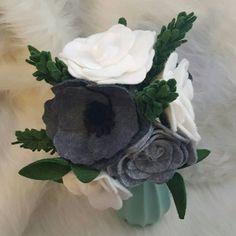Felt flower bouquet in grey and white wedding bouquet